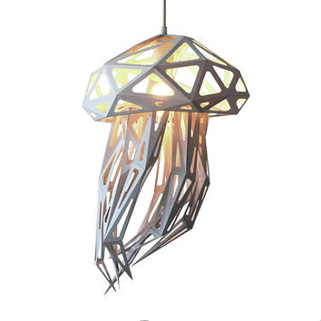 Jellyfish DIY paper sculpture, Nursery lampshade, Nature lover gift, Polygonal animals, Under the sea, Kids room lighting, Build your own