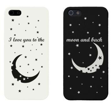 I Love You to the Moon and Back Matching Couple Black & White Phonecases (Set)