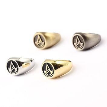 MS Jewelry Assassins Creed Ring Hot Game Gold Silver Men Women Rings Cosplay male Friendship Gift
