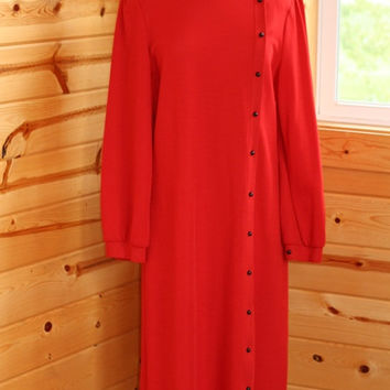 Vintage 70s Butte Knit Tomato Red Dacron Poly Shift Dress