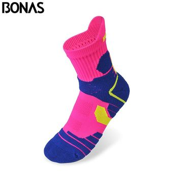 Bonas Spring Athletics Short Cotton Socks Woman Thermal Hike Socks Girl CoolMax Polyester Casual Women's Colorful Socks