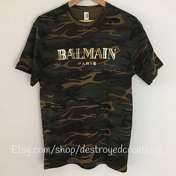Balmain Paris Camo Tee Shirt Gold Foil Balmain Gucci Inspired T-Shirt
