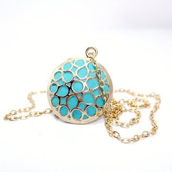 Gold teal necklace handmade designer gold turquoise pendant old style jewelry for her