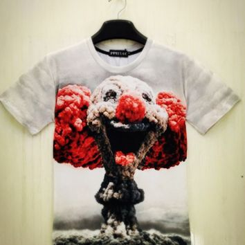 Summer fashion Men's T Shirt Casual Cotton Short Sleeve quality Tops 3D clown nuclear Printed O-neck Tees Size M-XXL [10312516867]