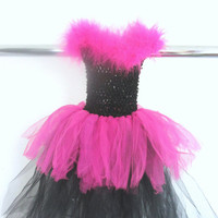 Black and Pink Fuzzy Tutu Dress