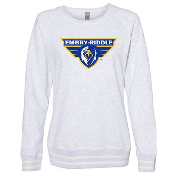 Official NCAA Embry Riddle Prescott Eagles PPERAUP04 Women's Crewneck Sweatshirt with White Striped Edges