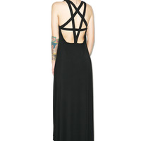 Kill Star Pentagram Maxi Dress Black