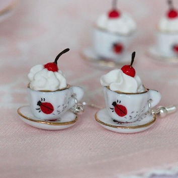 Tea Party Earrings - Cherry on The Cake - cherry Earrings - Alice in Wonderland Earrings - Kawaii Jewelry - Food earrings