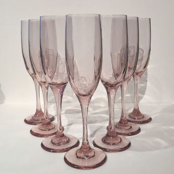 Pink Champagne Glasses, Pink Toasting Flute, Libbey Rose Pink Champagne Glasses