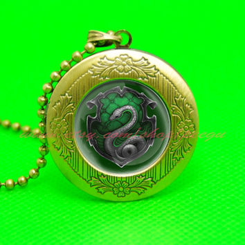 harry potter salazar slytherin snake pendant locket necklace,house of hogwarts school of witchcraft and wizardry locket