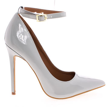 Leon Gray Patent By Shoe Republic, Women's High Heel Pump w/ Pointed Close Toe & Ankle Straps