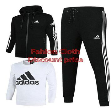 Adidas Jacket New Style Fashion Trend Three-Piece Suit For Men 18926 L-4X Black White