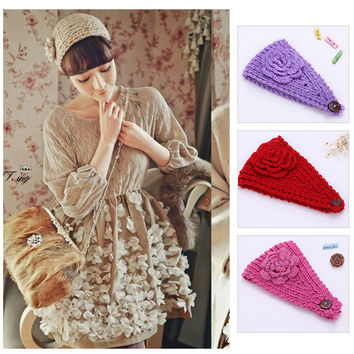 2016 Beauty Fashion24Colors Flower Crochet Knit Knitted Headwrap Headband Ear Warmer Hair Muffs Band Winter