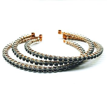 Wire Wrapped Copper Silver Black Crystal Rhinestone Bangle