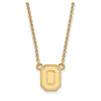 NCAA 14k Gold Plated Silver Ohio State Small Pendant Necklace, 18 Inch