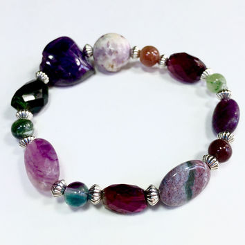 "7"" bracelet, Purple and silver Gemstones, Rare Sugilite, Jade, and Amethyst"