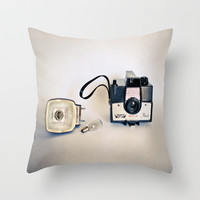 Vintage camera love, Imperial Mark XII Flash Throw Pillow by Silvia Ferrando
