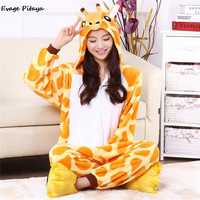onsie Cartoon adult giraffe pajamas animal Onesuits flannel animal pajamas one piece cosplay womens adult giraffe Onesuit mujer