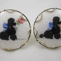 Poodle Cufflinks Guilloche Enamel Handpainted French Poodle Vintage Cuff Links Dog Jewelry