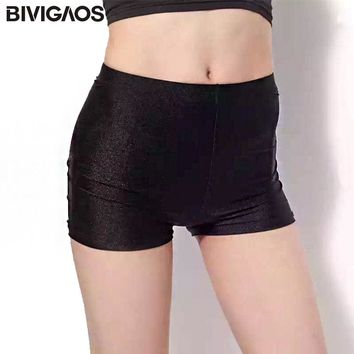 BIVIGAOS 3 Color Summer Womens Sexy Short Stretchy Gloosy Skinny Shorts Women Elastic Spandex Short Femme Hotpants Mini Shorts