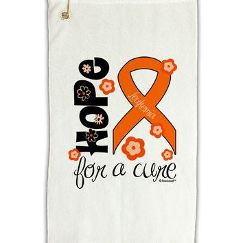 "Hope for a Cure - Orange Ribbon Leukemia - Flowers Micro Terry Gromet Golf Towel 11""x19"