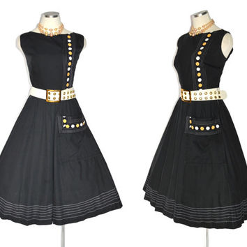 1950s Atomic Dot Summer Party Dress / Vintage 40s / 50s New Look Black Cotton Dress w Patch Pocket & Semi Full Skirt / Rockabilly / M