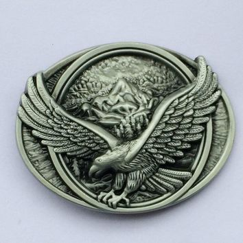 Flying Eagle Over Mountains Belt Buckle