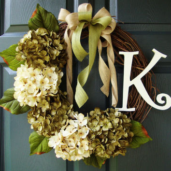 Front Door Wreath - Hydrangea Wreath - Door Monogram - Personalized Wreath - Summer Wreath - Burlap - Includes Free Wreath Hanger