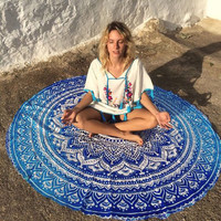 Indian Mandala Summer Beach Throw Hippie Yoga Mat Towel Bohemian Tapestry Blanket Wall Hanging Floral Print Home Decor 143cm