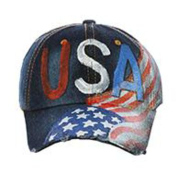 STARS AND STRIPES Patriotic Jean HAT CAP USA DISTRESSED DENIM  PAINT Red Blue White