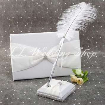Free shipping,Set of 2pcs New style Ivory Satin Wedding Guest Book&Feather Pen Holder Set Wedding Christmas Supplys SWD37