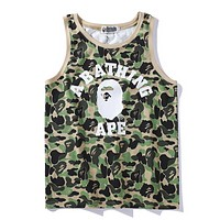 Bape Aape New fashion bust letter print camouflage vest top t-shirt Green