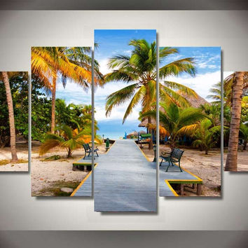 Tropical Walk 5-Piece Wall Art Canvas
