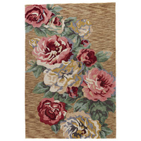 Contemporary Floral & Leaves Pattern Brown/Pink Polyester Area Rug ( 2x3)
