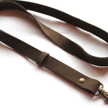 Leather lanyard, id badge, Leather Neck Strap, id badge lanyard, lanyard, keychain, key holder, ID holder, leather keychain, bronze hook