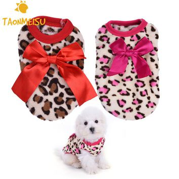 Pet Dog Puppy Clothes Dogs Bowknot Costume Pajamas Clothing With Leopard Pattern Hoodie  Coat Coats For small milk Puppy Dogs