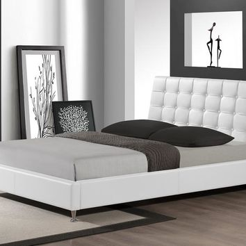 Baxton Studio Zeller White Modern Bed with Upholstered Headboard - Queen Size Set of