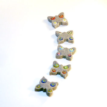 Fairy Garden Butterfly Stepping Stones with Mosaic Glass Decoration