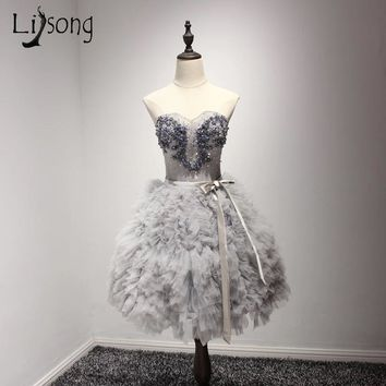 Silver Feather Mini Party Prom Dress