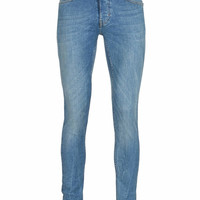 LIGHT BLUE WASHED MARBLED SPRAY ON SKINNY JEANS - Skinny Jeans - Men's Jeans - Clothing - TOPMAN USA