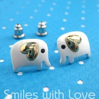 Small Elephant Earrings in Silver with Gold Heart Detail | smileswithlove - Jewelry on ArtFire