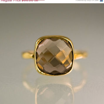 SALE - Gemstone Ring - 18k Gold Vermeil Ring - Smokey Quartz Ring - Bezel Set Ring - Stackable Ring
