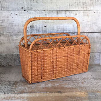 Magazine Rack Mid Century Wicker Magazine Holder Rattan Newspaper Holder Wicker Basket Bamboo Magazine Rack Album Holder File Organizer