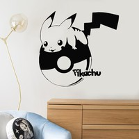 Vinyl Wall Decal Pikachu Funny Art Decor for Kids Room Pokemon Stickers Mural Unique Gift (ig5133)