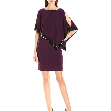 Adrianna Papell - AP1D100418 Sequin Trim Capelet Banded Sheath Dress