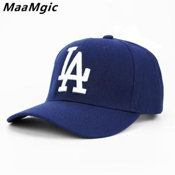 2018 New letter LA Baseball Caps  Dodgers Embroidery Hip Hop bone Snapback Hats for Men Women Adjustable Gorras Casquette Unisex