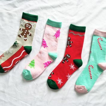 CHAOZHU 2018 Stretch Women Christmas Gift Socks Winter Christmas Tree Candy Cane Cartoon Lady Warm Xmas Socks Fashion Cute Sweet