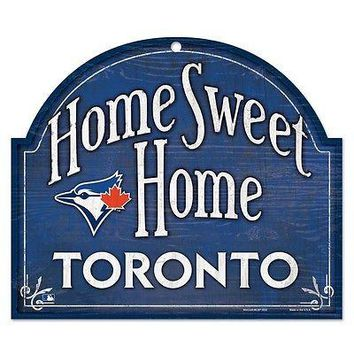 "TORONTO BLUE JAYS HOME SWEET HOME ARCHED WOOD SIGN 10""x11"" BRAND NEW WINCRAFT"