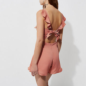 Pink frill tie back cami playsuit - Playsuits - Playsuits / Jumpsuits - women