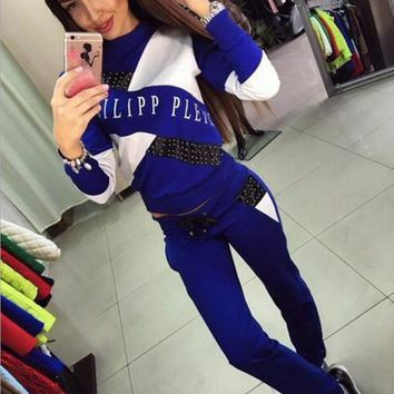 Ballinciaga Fashion Show Thin Long Sleeve Print Splicing Casual Sport Suit Two Piece